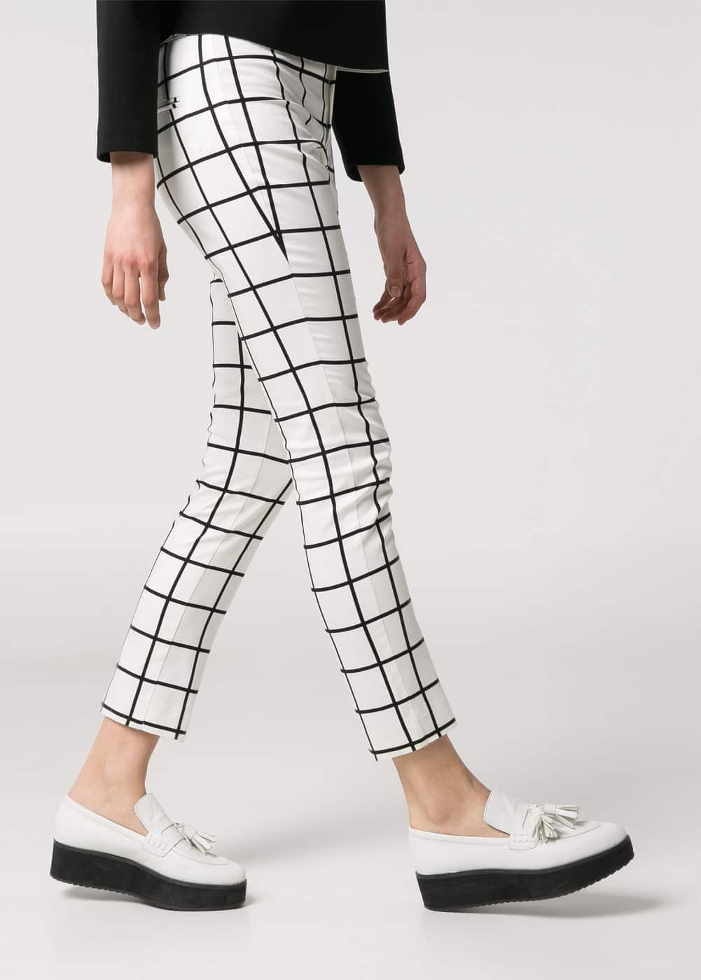 Monochrome check trousers | MANGO
