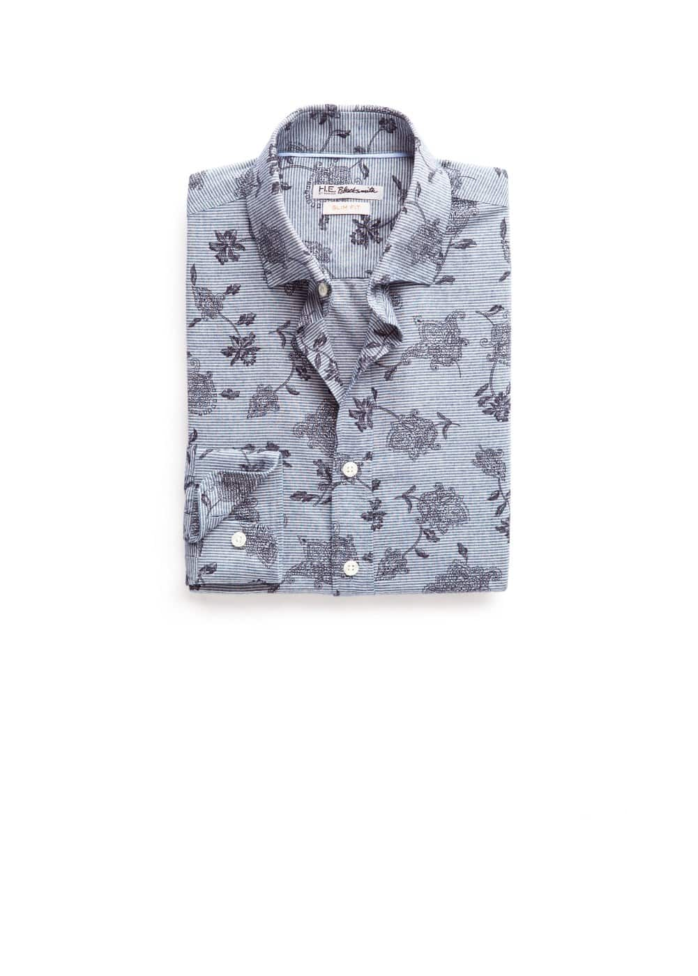 Slim-fit striped printed shirt | MANGO