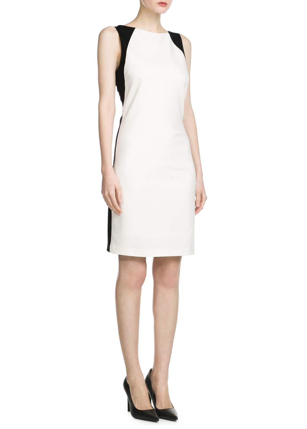 Stretch bicolor dress | MANGO