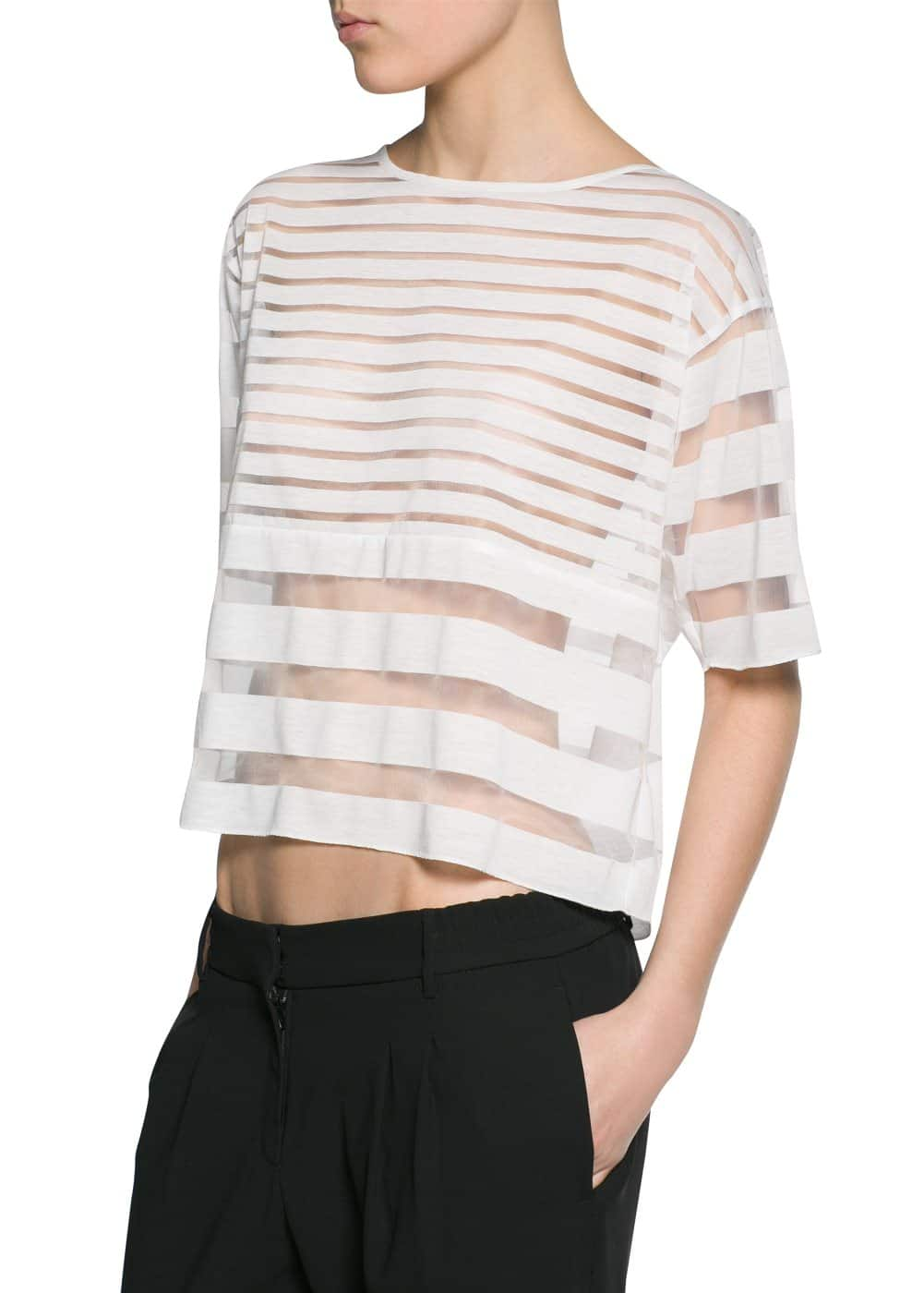 Transparent striped t-shirt | MANGO