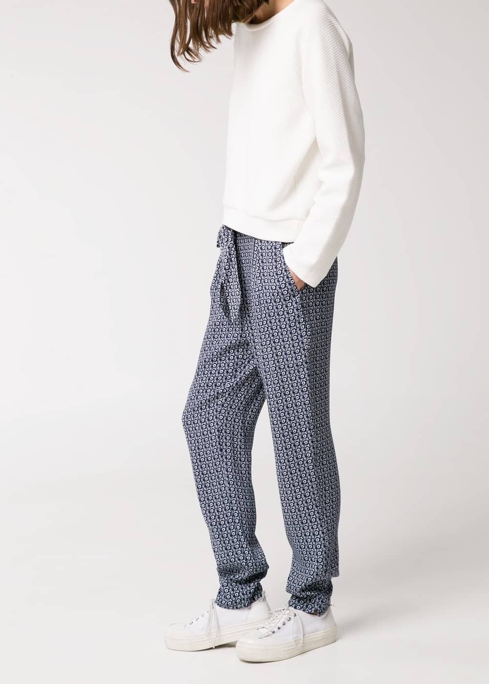 Bow printed trousers