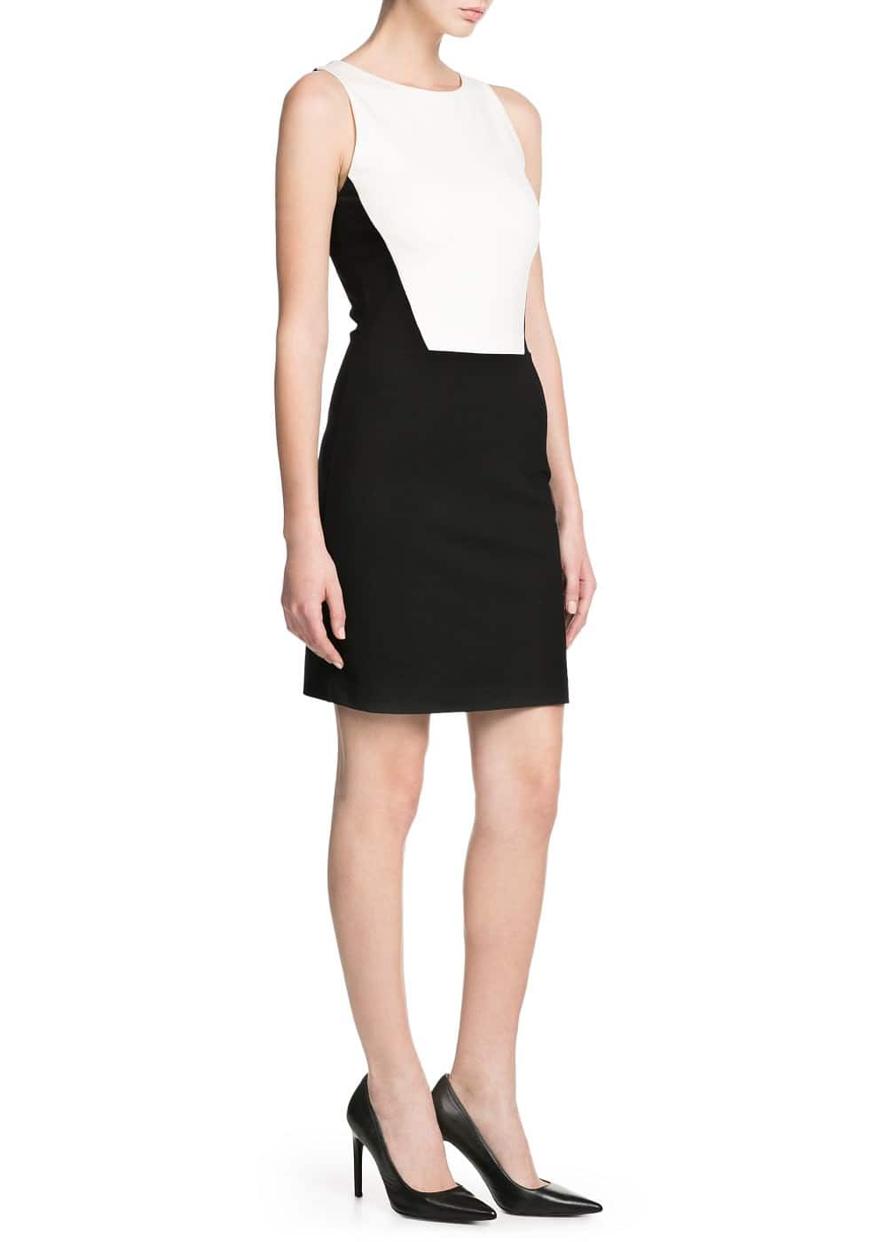 Monochrome fitted dress | MANGO