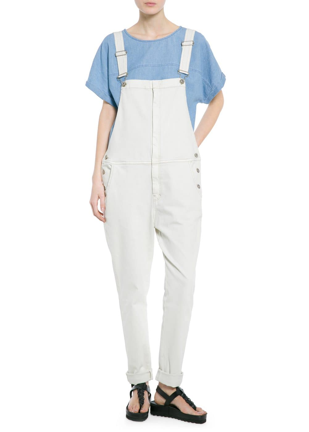 Off-white denim dungarees
