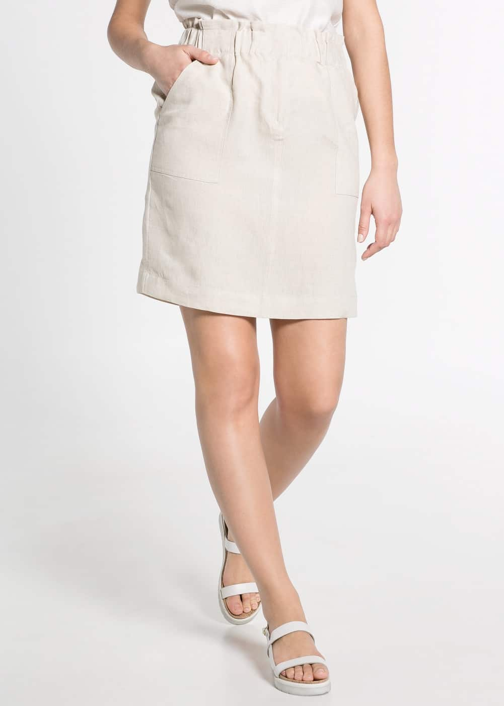 Maxi-pocket linen skirt