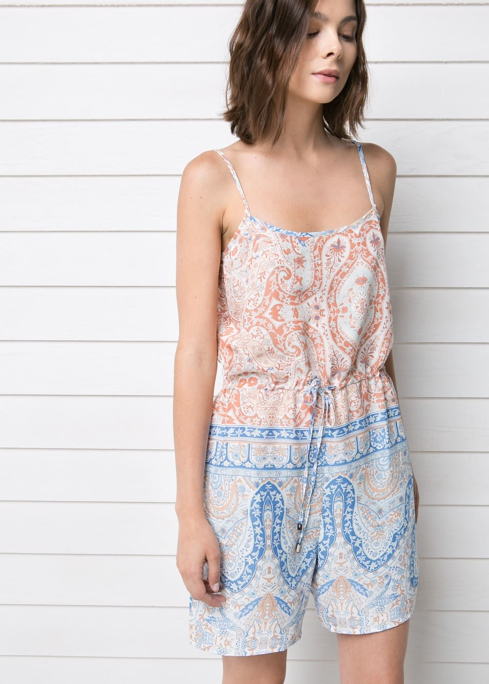 Baroque-print short jumpsuit