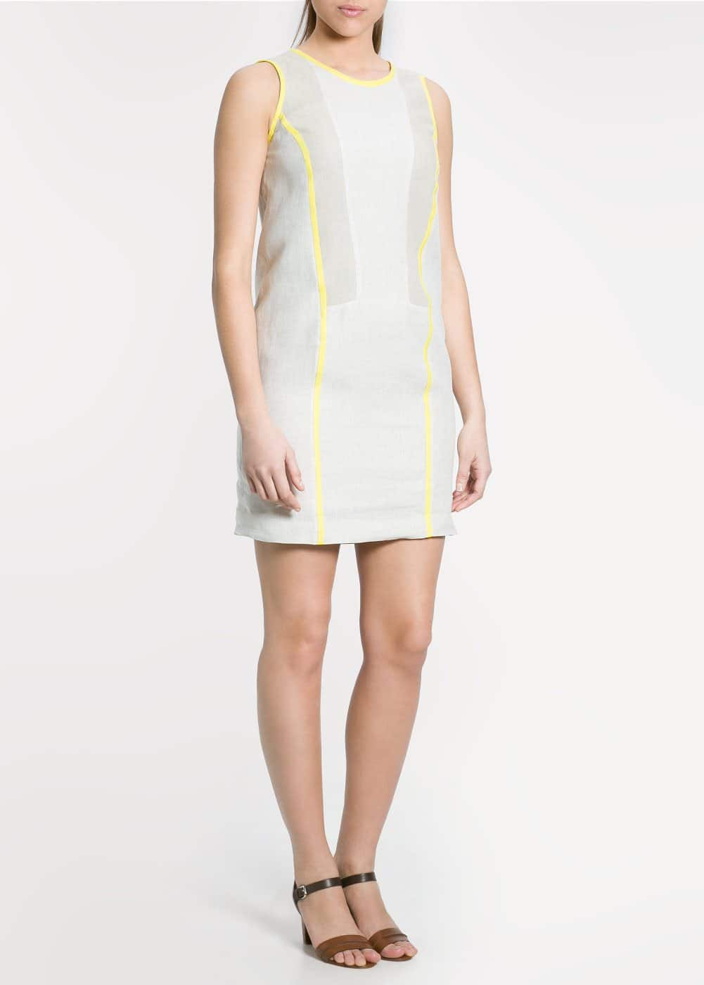 Contrast trim linen dress