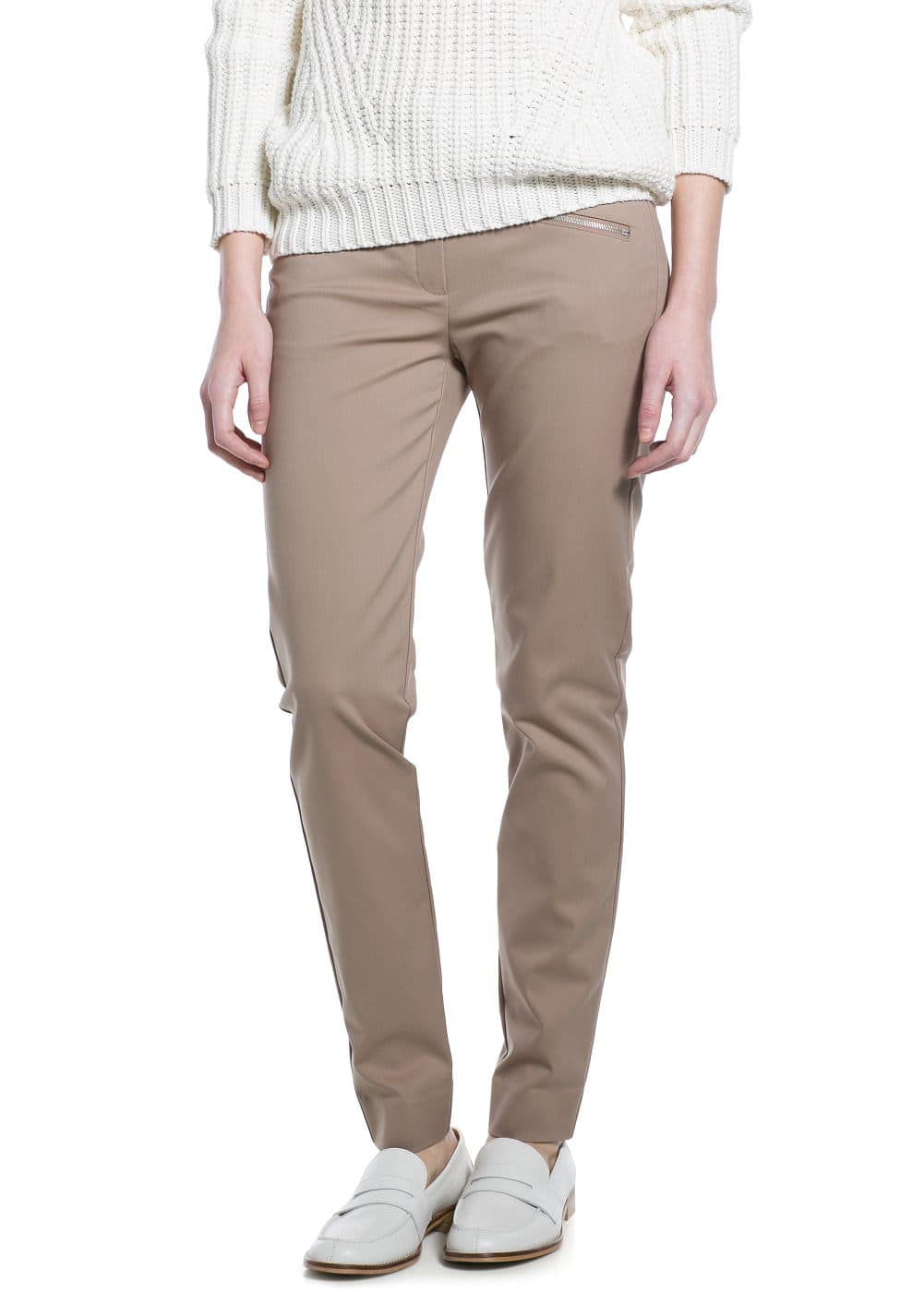Zip stretch trousers