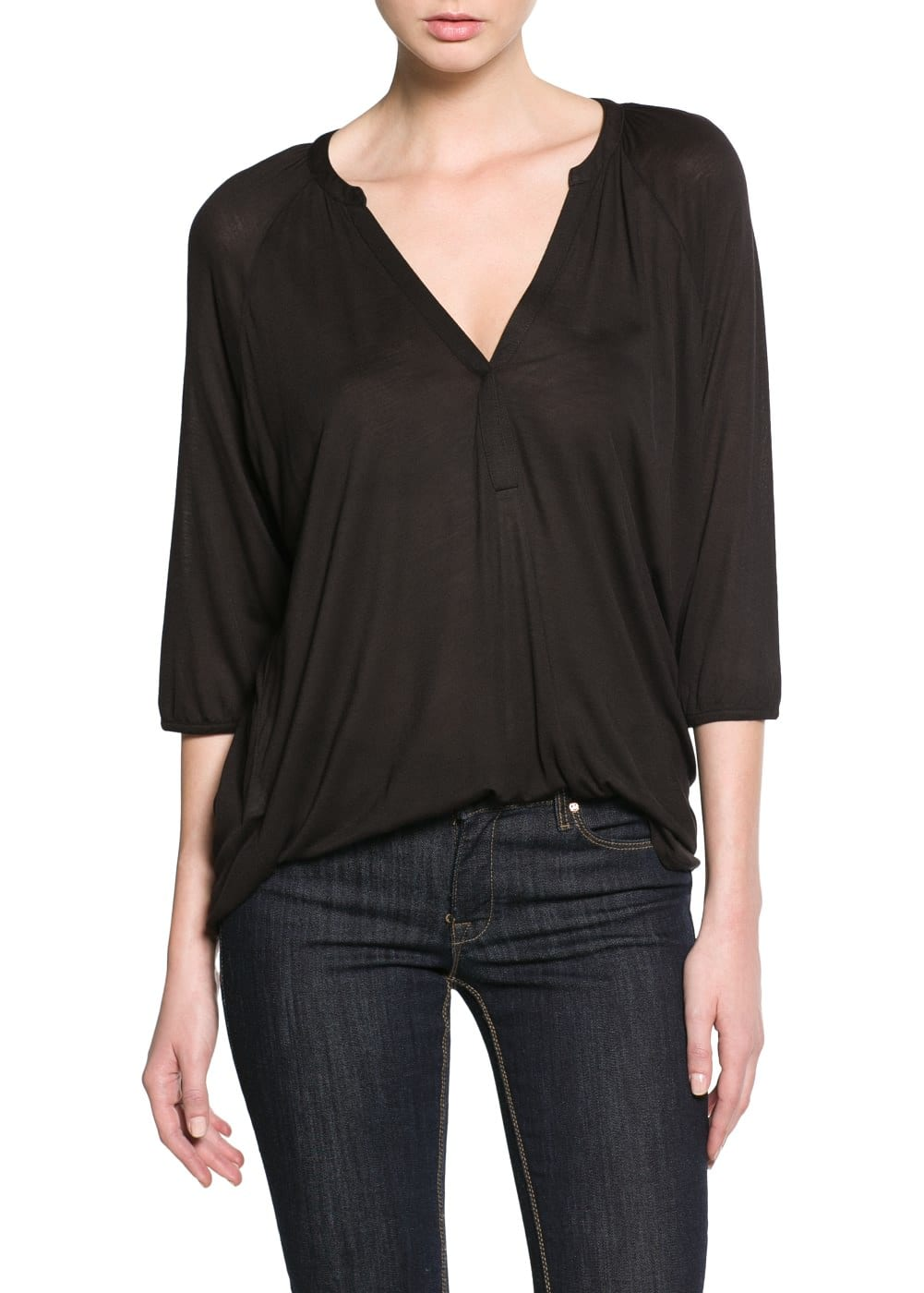 V-neck blouse | MANGO