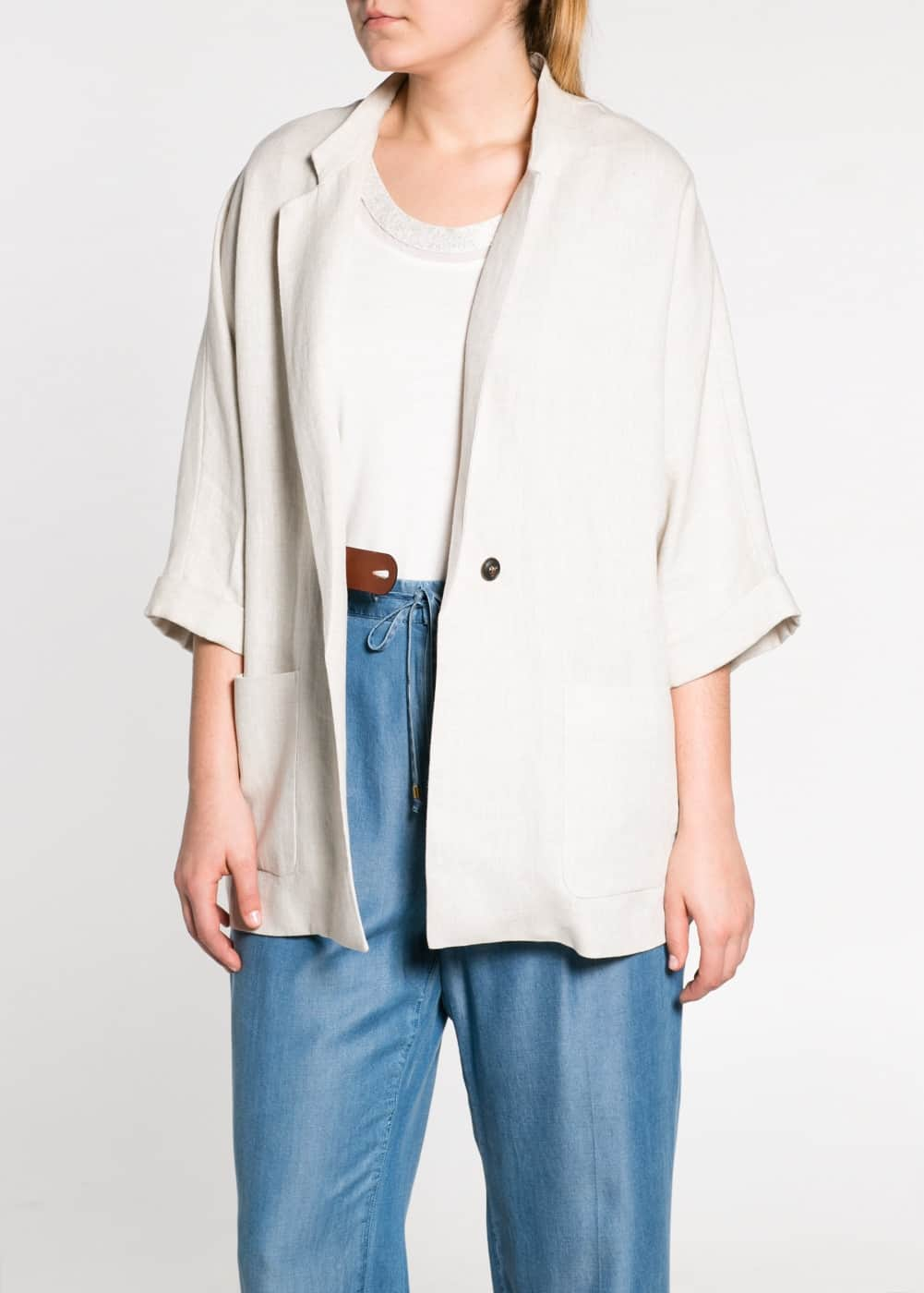 Leather piece linen jacket