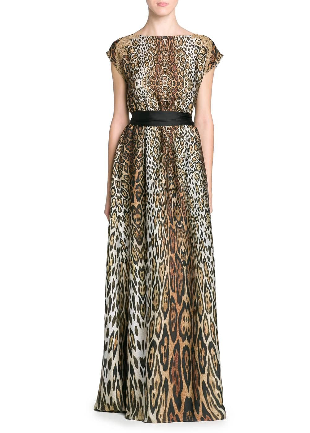 Embroidery leopard print long dress