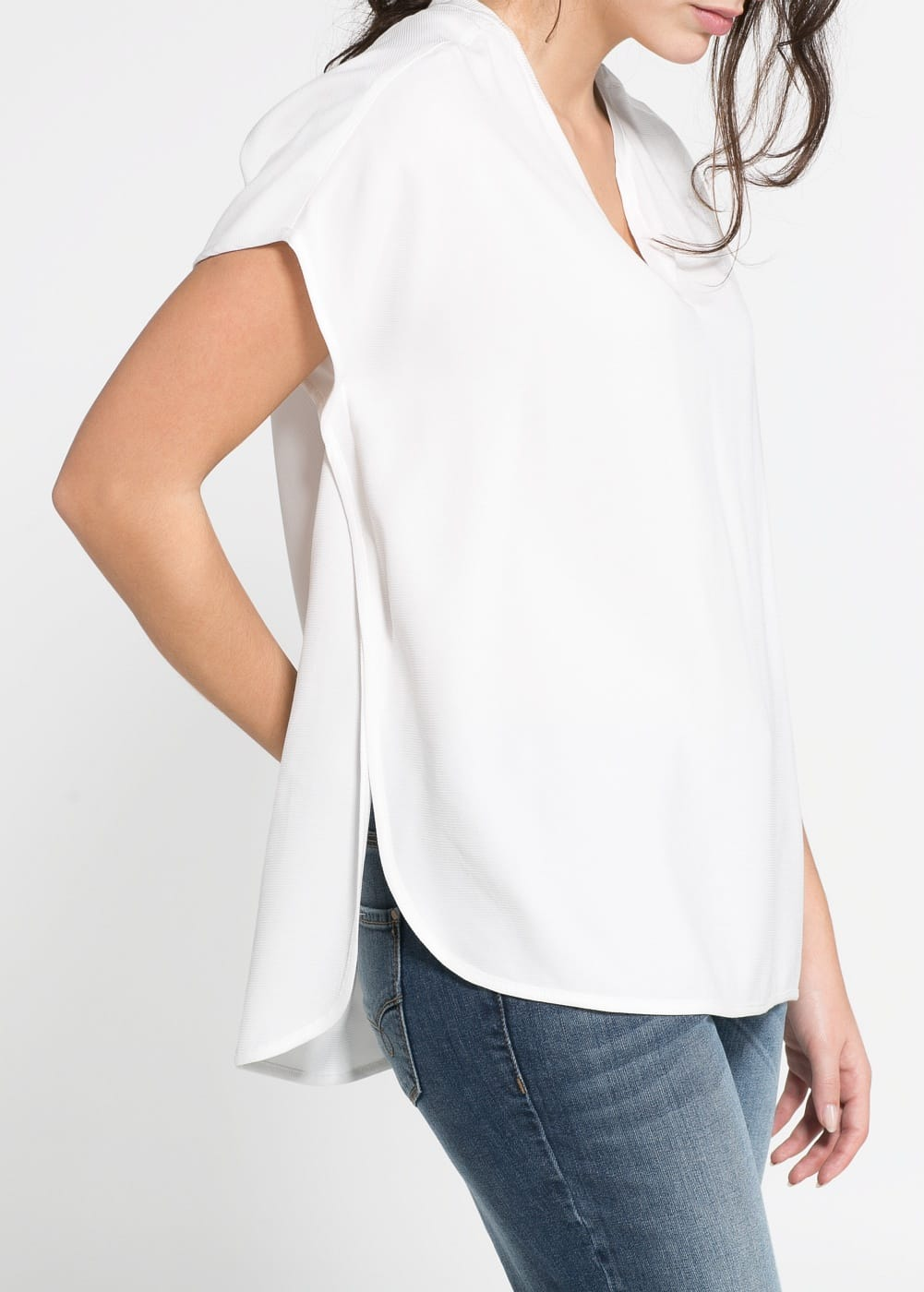 Textured asymmetric blouse