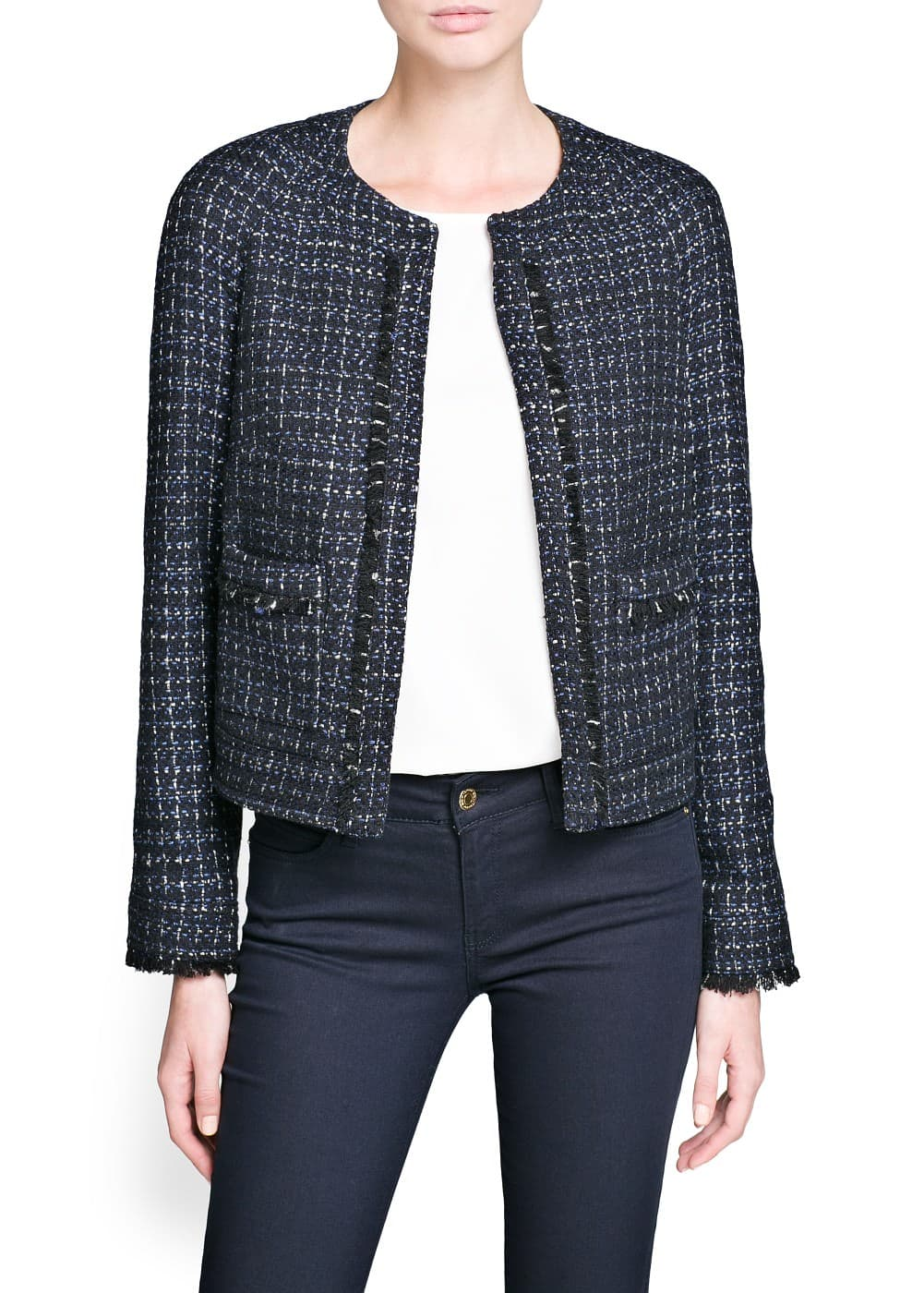 Frayed detail bouclé jacket | MANGO