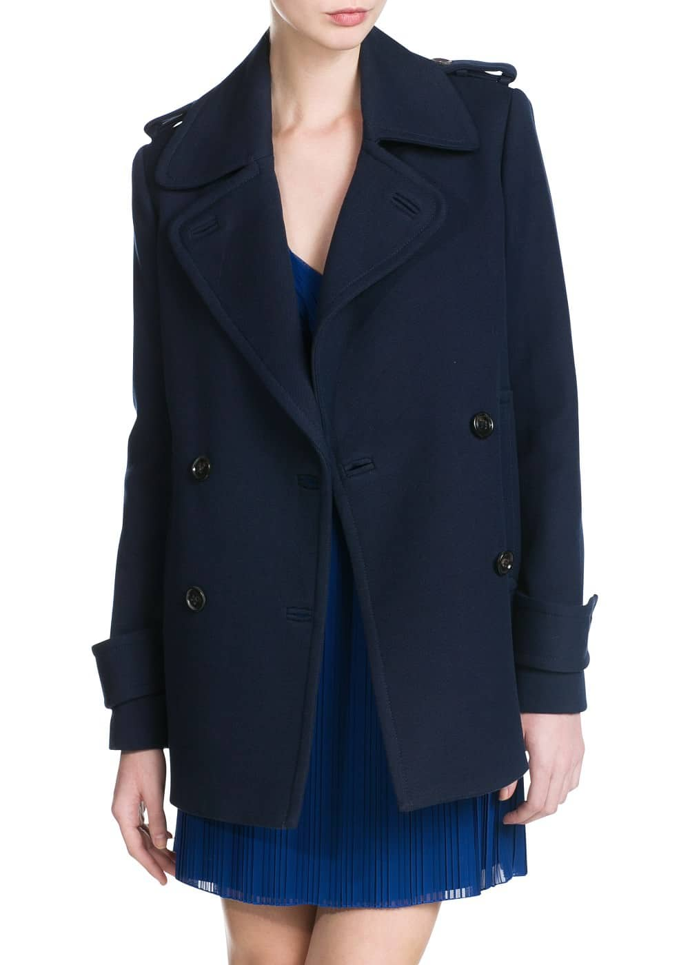 Wool cotton-blend peacoat | MANGO