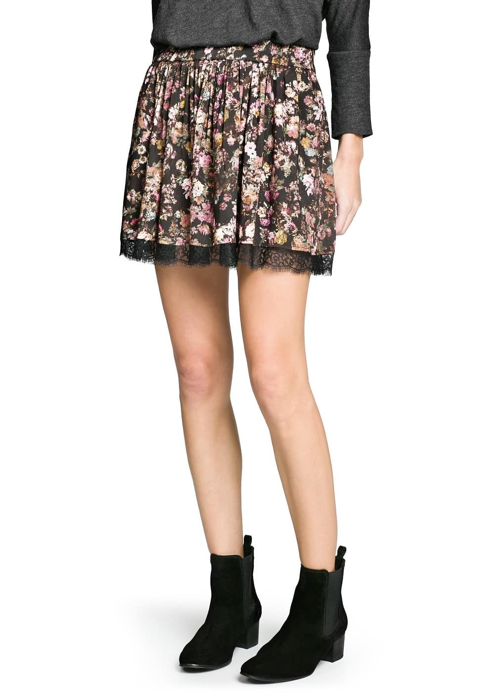 Lace appliqué floral skirt | MANGO