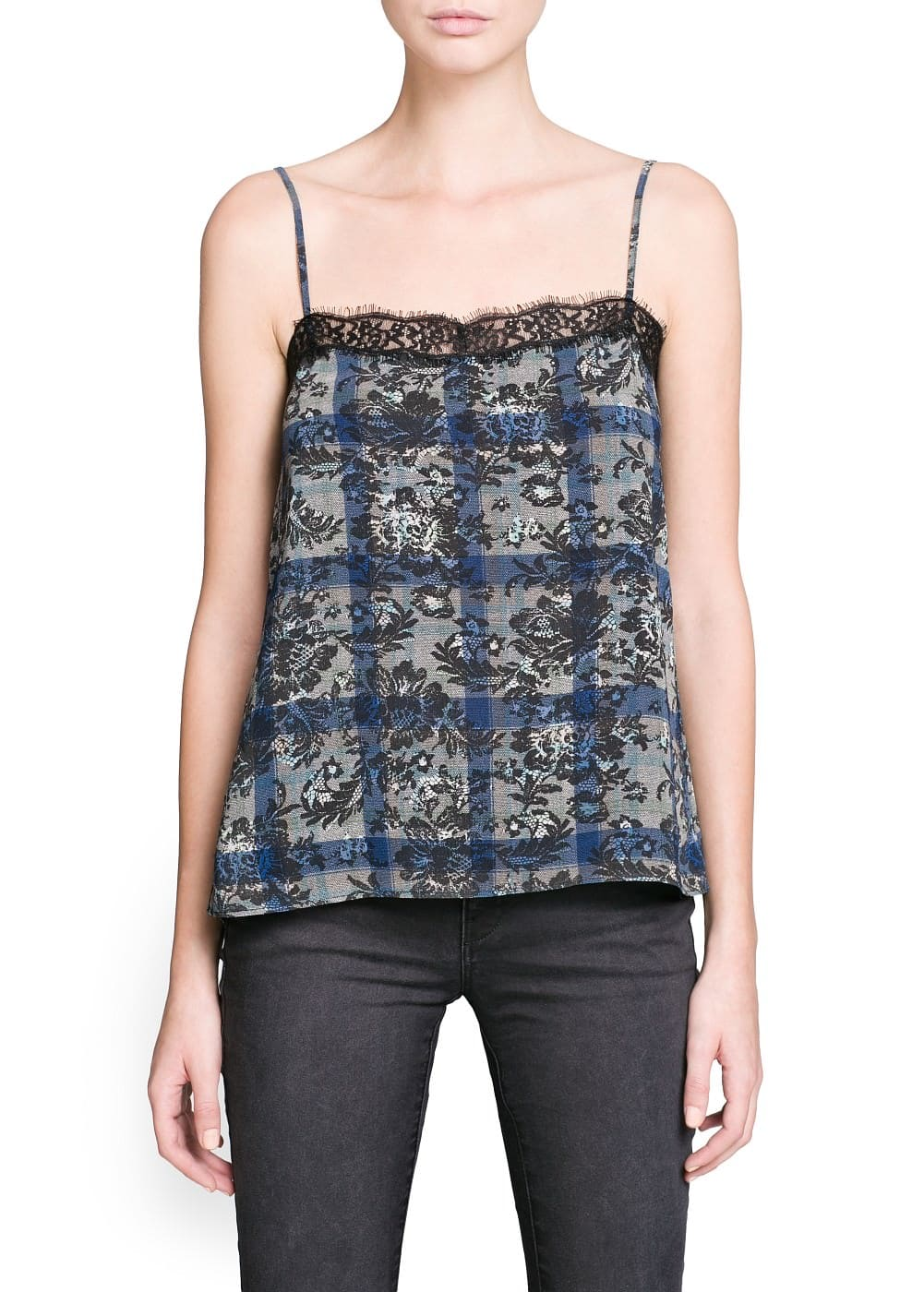 Lace appliqué printed top