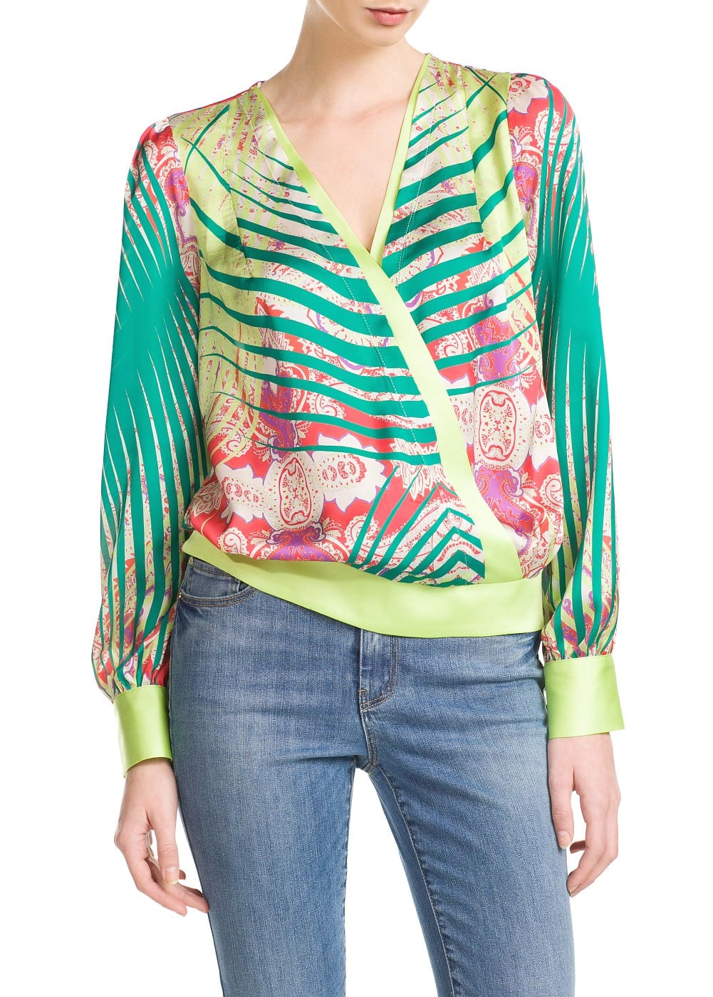 Printed wrap blouse | MANGO