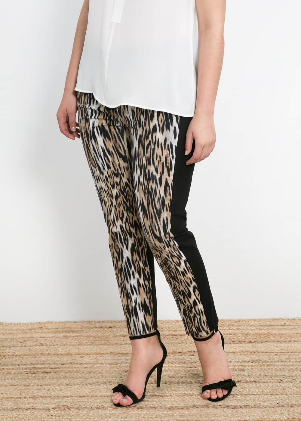 Leopard panel trousers