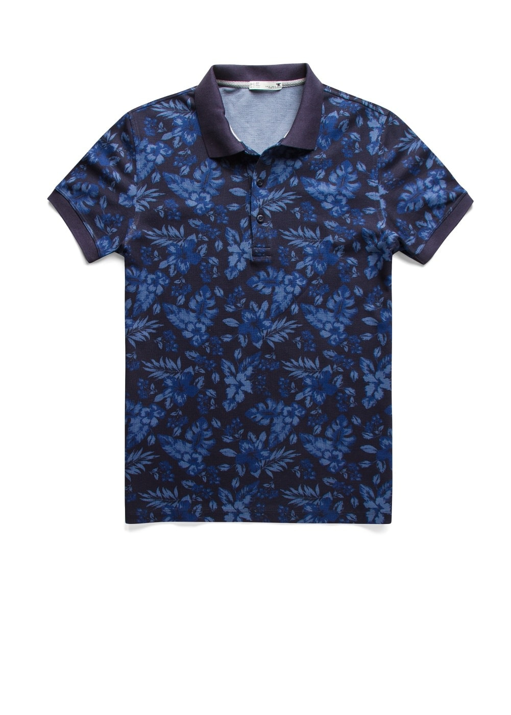 Tropical print piqué polo shirt