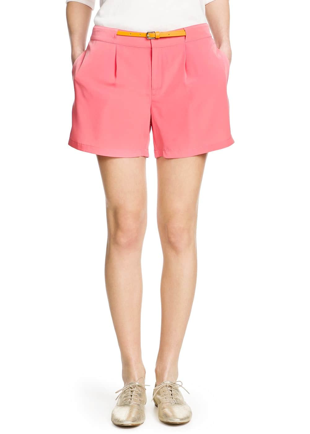 Satin pleated shorts | MANGO