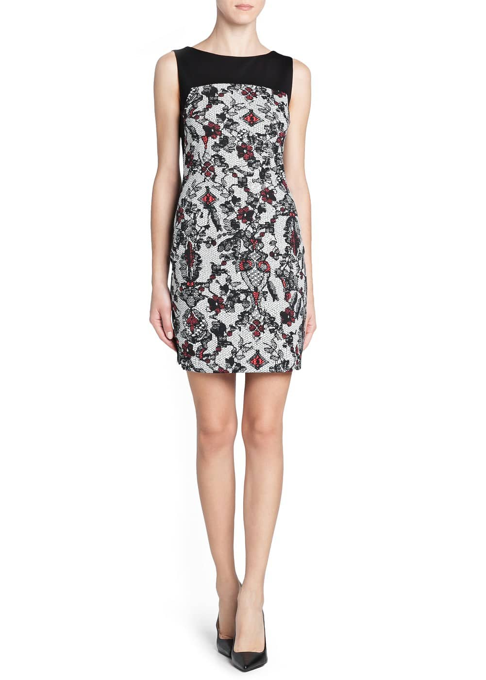 Lace print fitted dress | MANGO