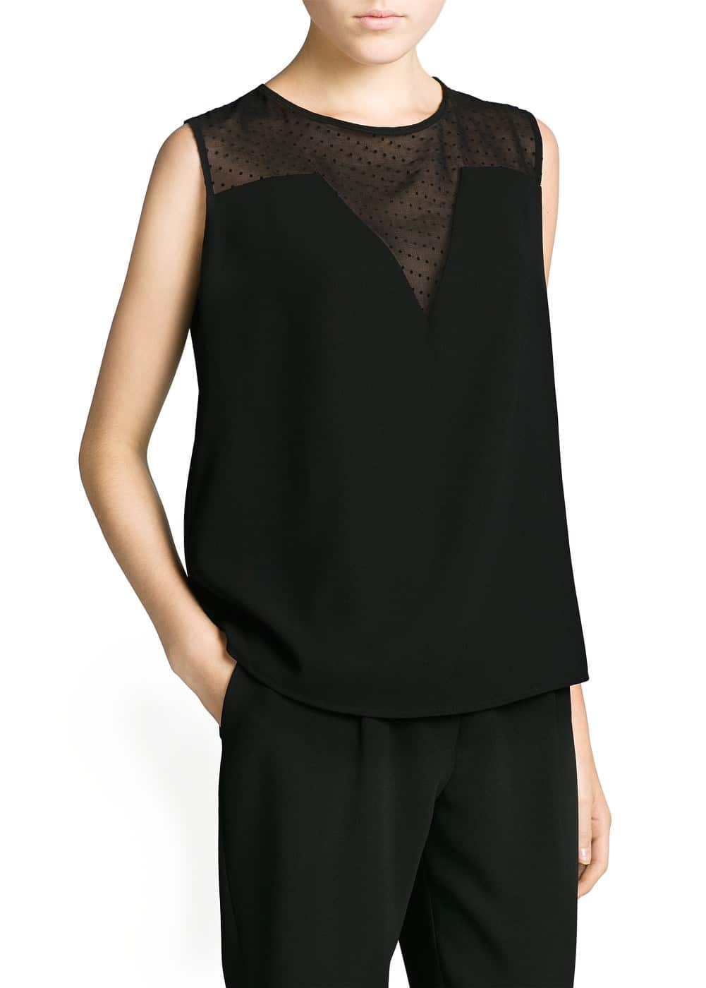 Polka-dot chiffon panel top