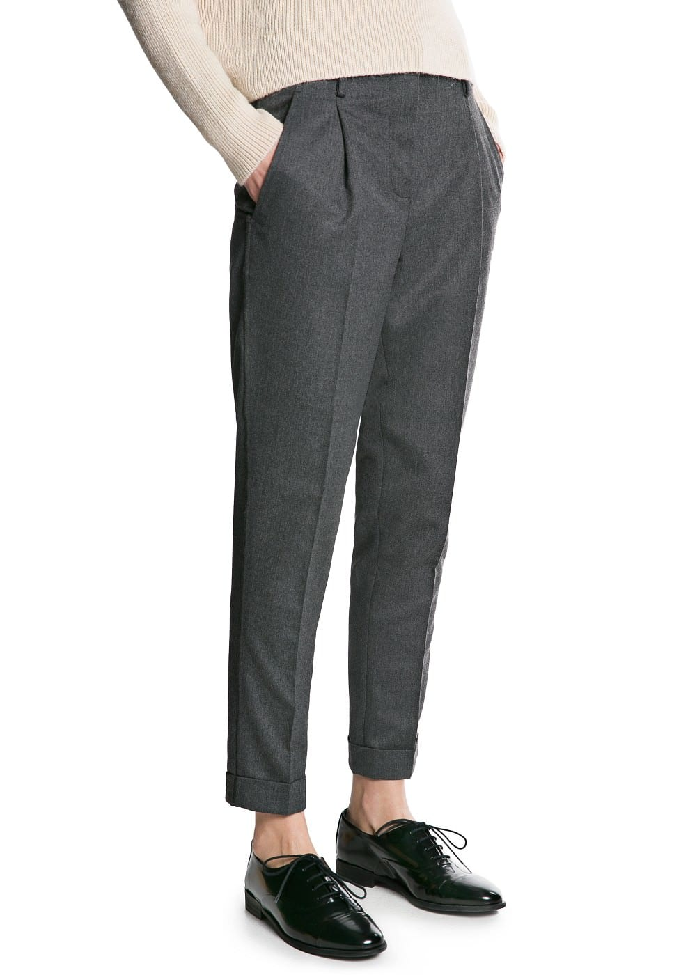 Premium - merino wool-blend trousers | MANGO