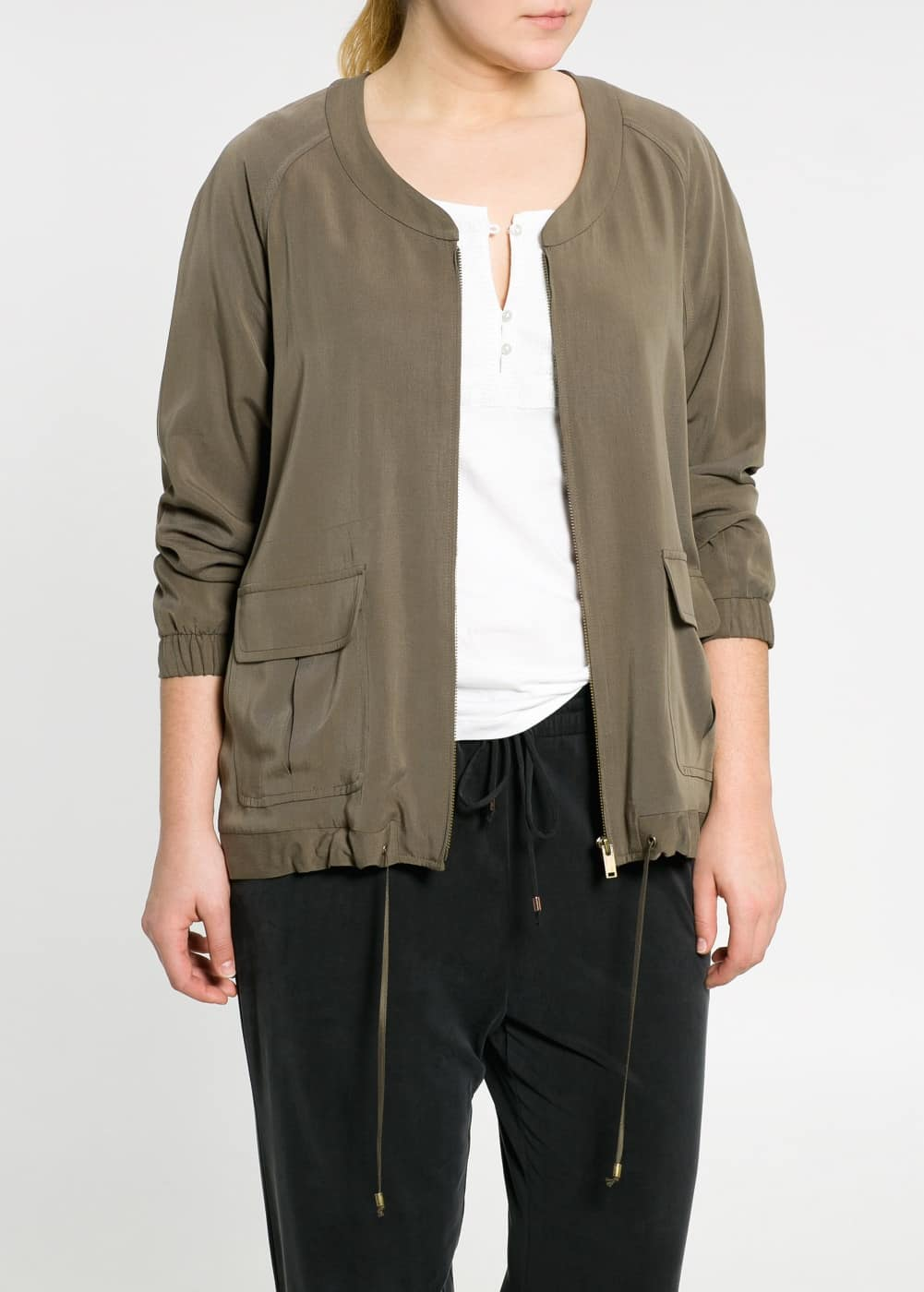 Soft fabric bomber jacket