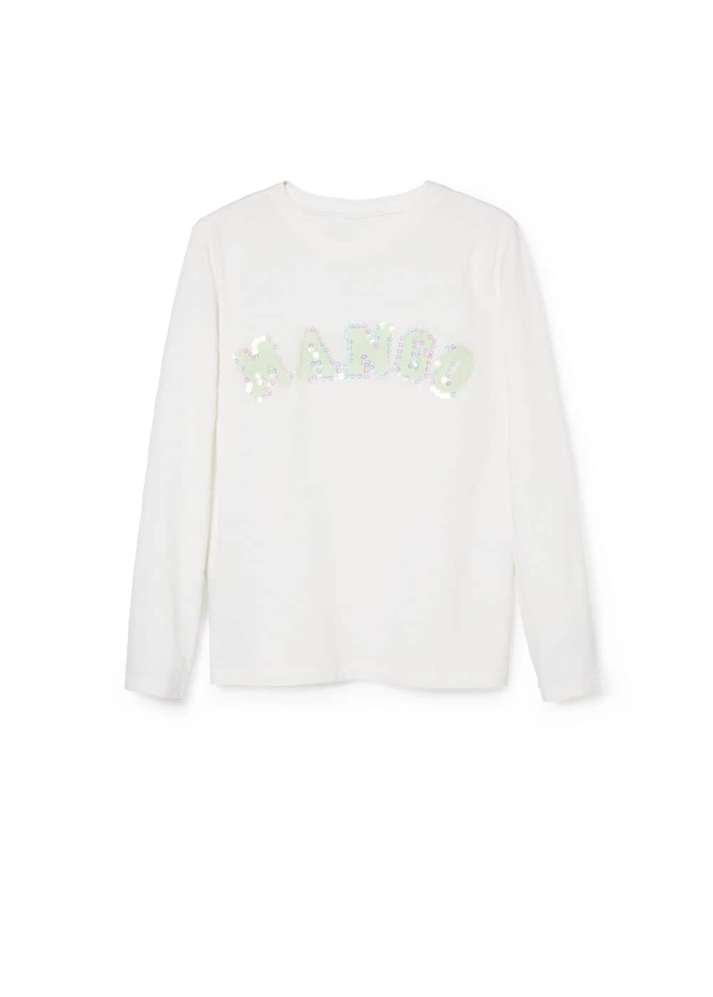 Sequin logo t-shirt | MANGO