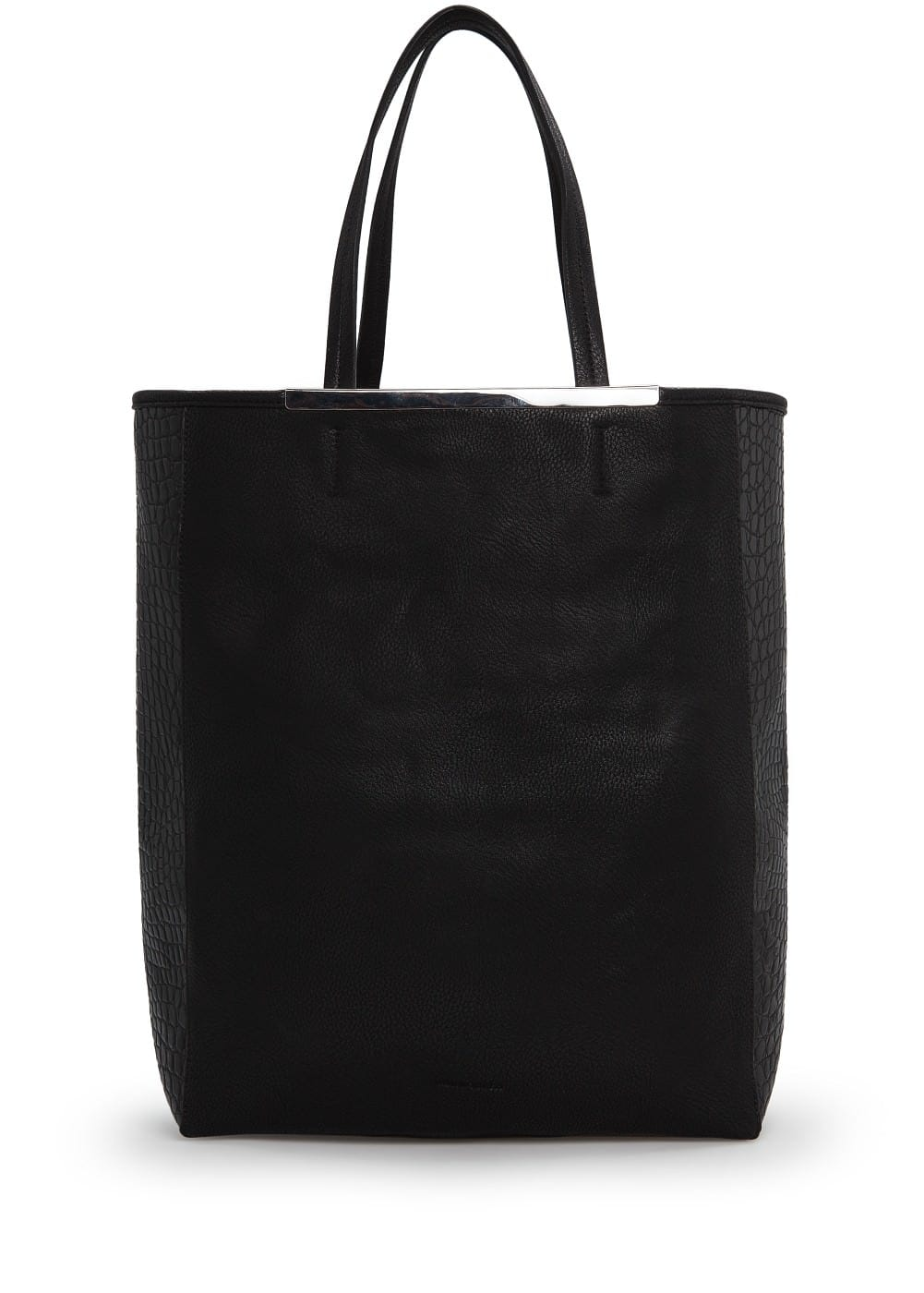 Croc-effect side shopper bag | MANGO