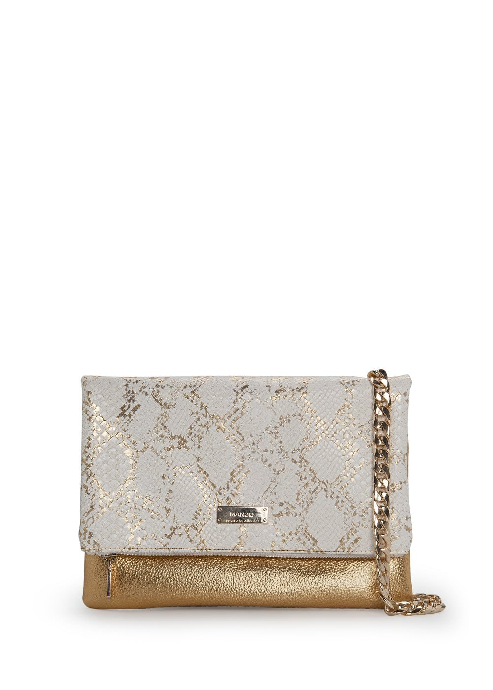 Snakeskin effect metallic folded bag | MANGO