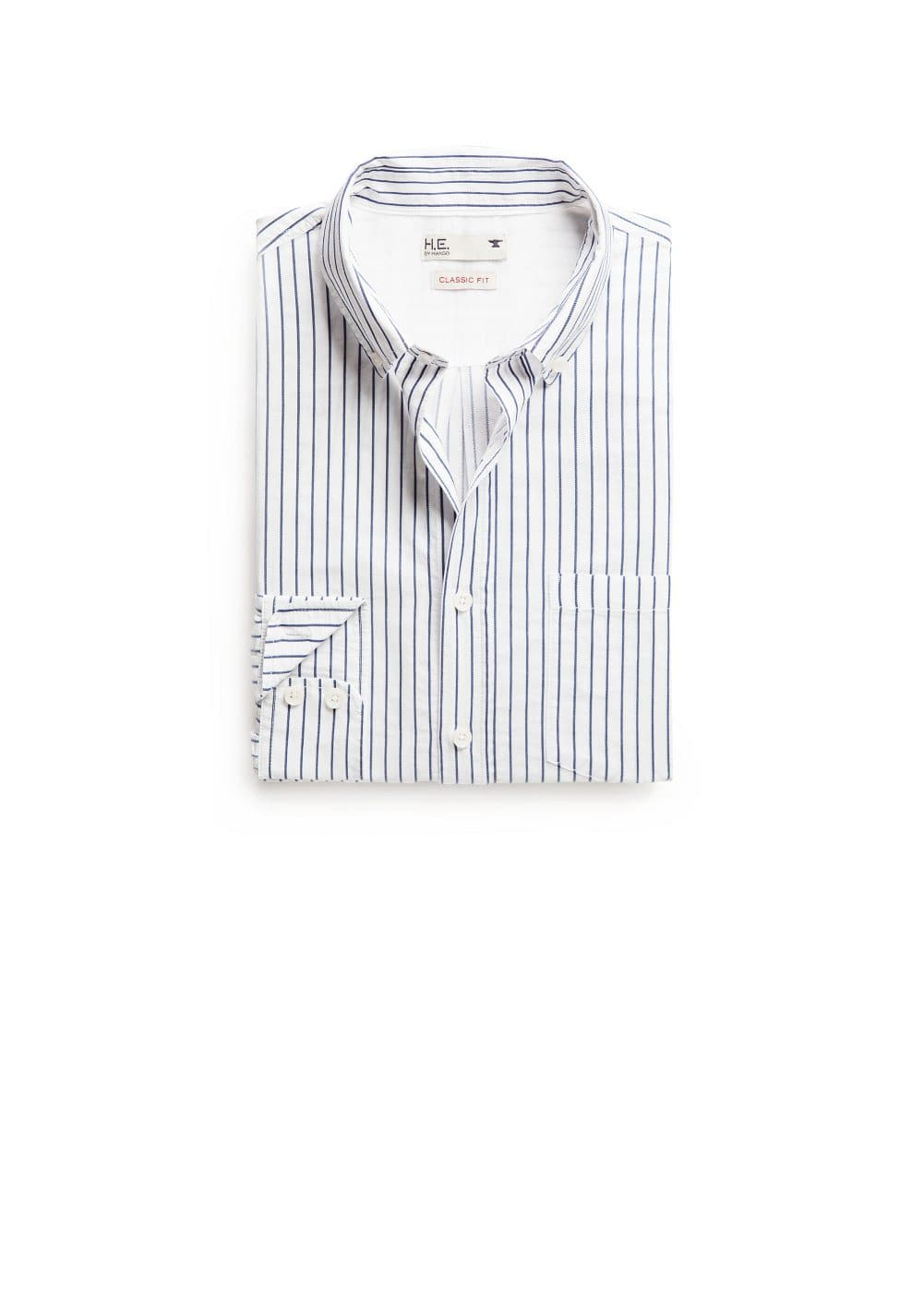 Classic-fit striped twill shirt | MANGO MAN