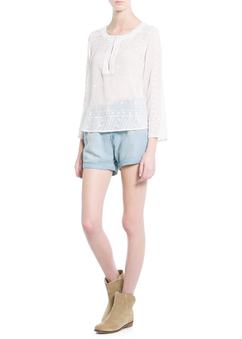 Embroidered chiffon top | MANGO