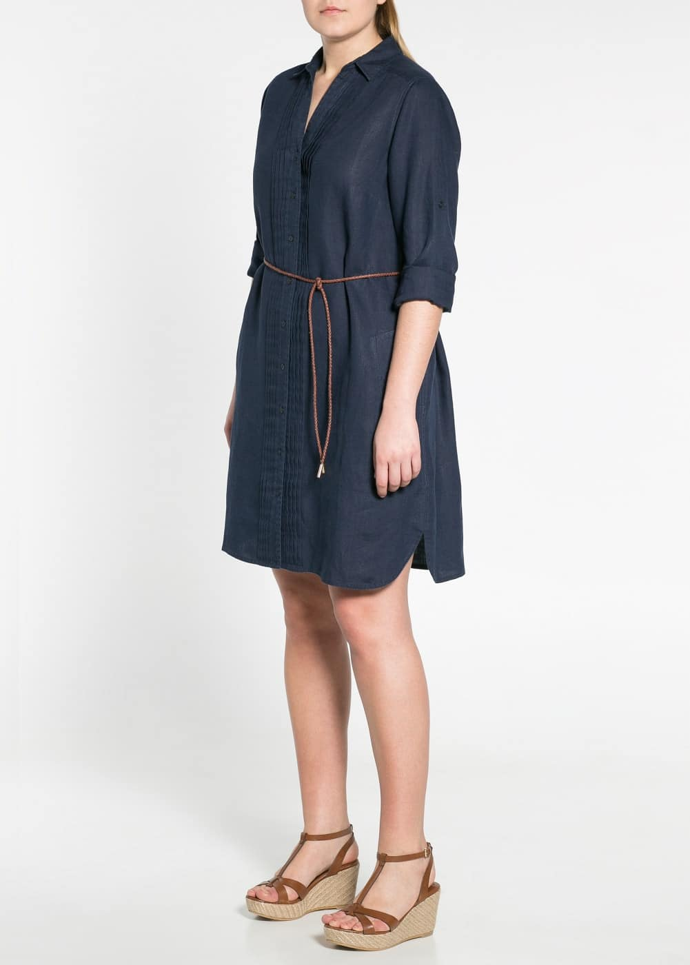 Belted linen dress | MANGO