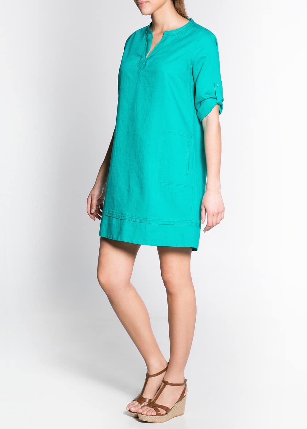 Color linen-blend tunic dress