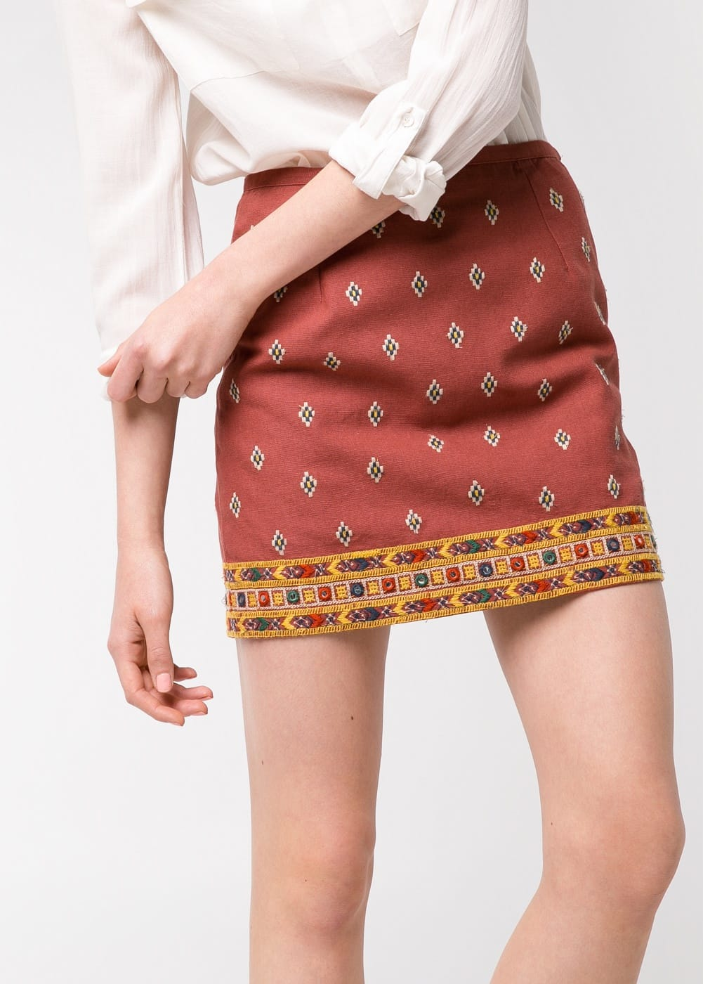 Mirror-embellished ethnic skirt