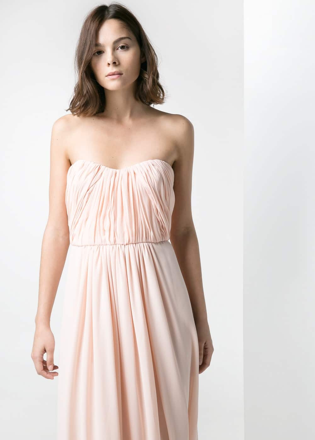 Draped-neckline gown