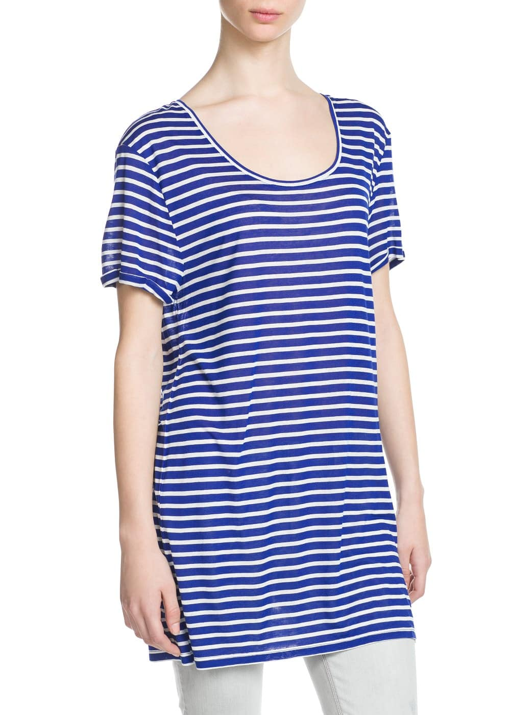 Striped long t-shirt | MANGO
