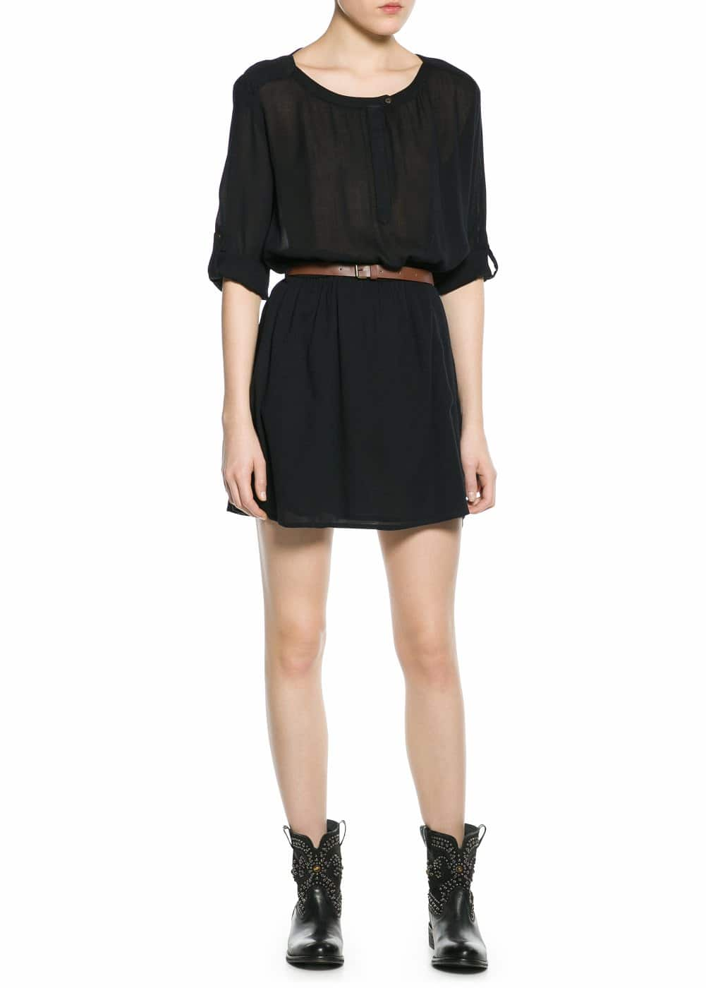 Belted lightweight dress | MANGO