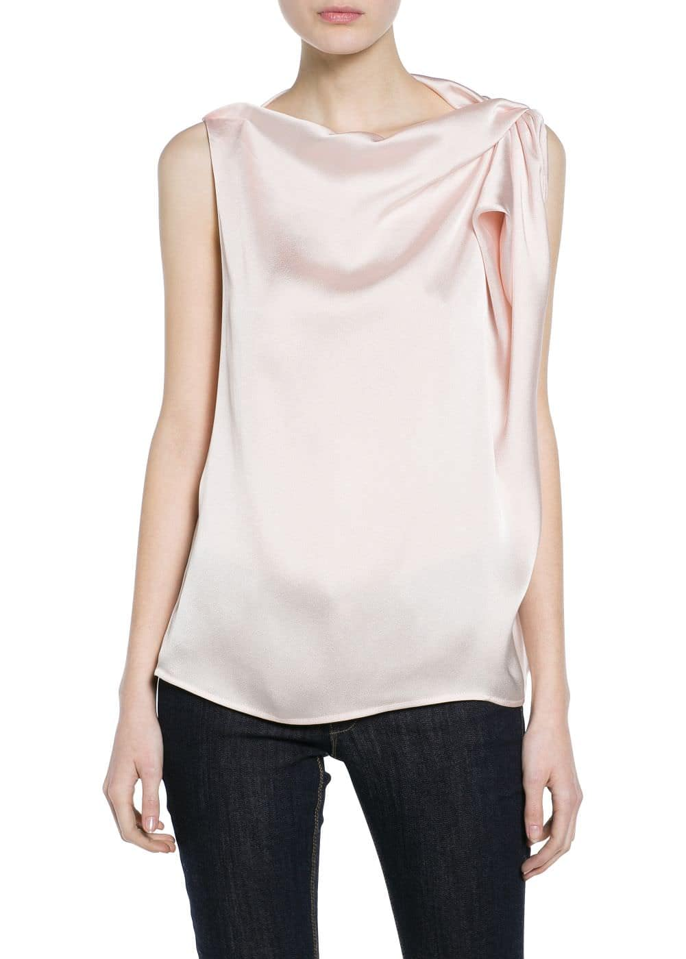 Draped satin blouse | MANGO