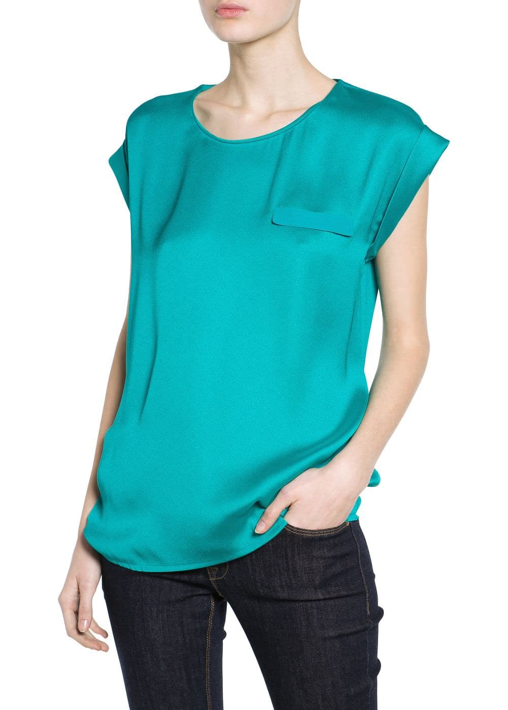 Decorative pocket satin blouse