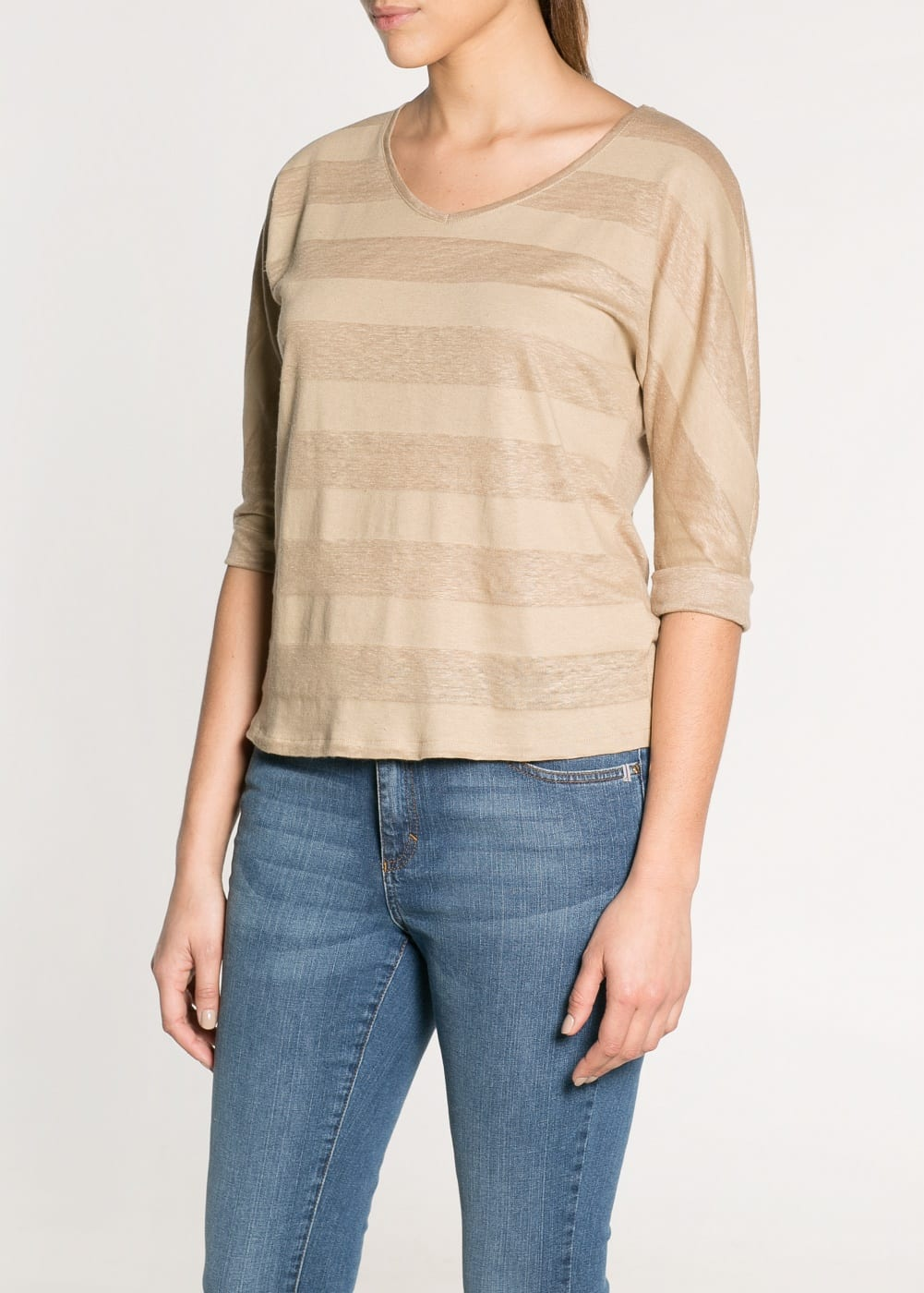 Striped linen t-shirt | MANGO