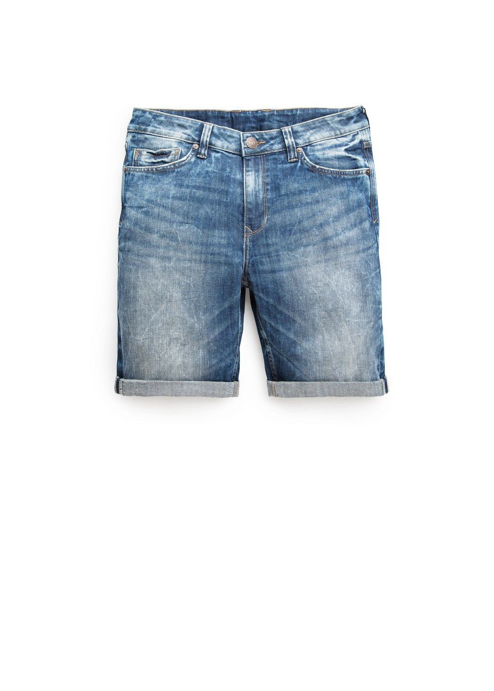 Medium wash denim bermuda shorts | MANGO