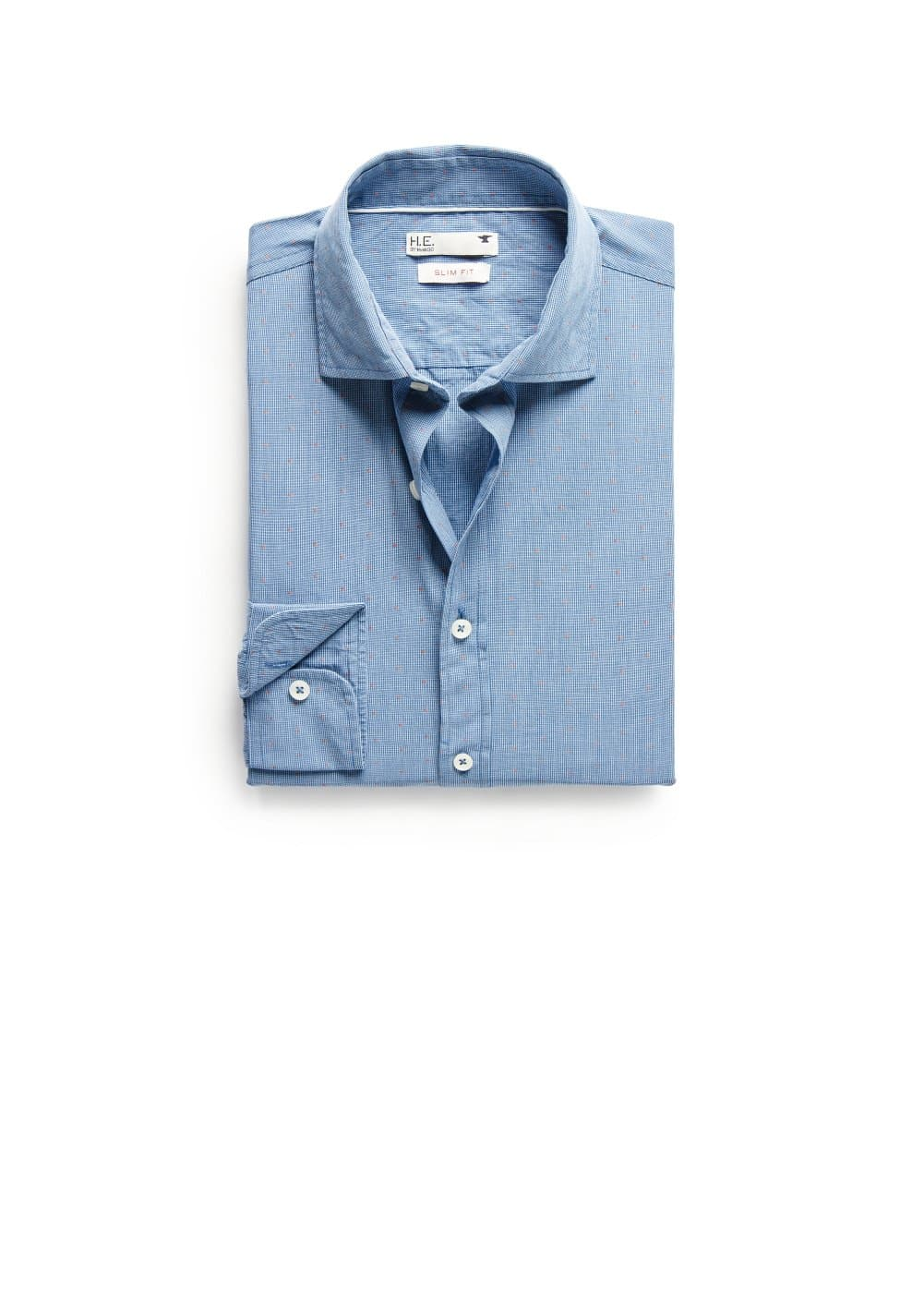 Slim-fit micro check jacquard shirt