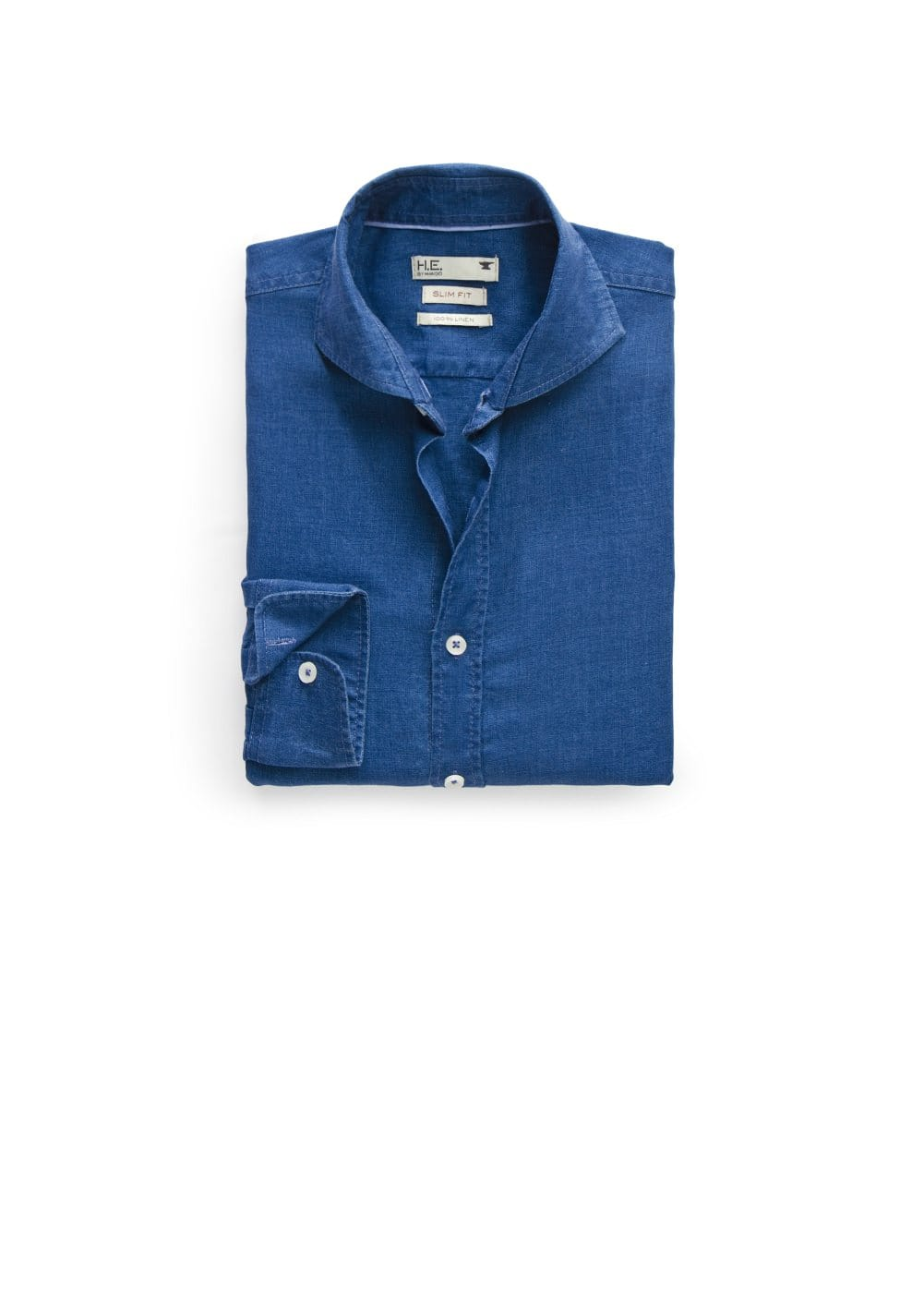 Slim-fit linen chambray shirt