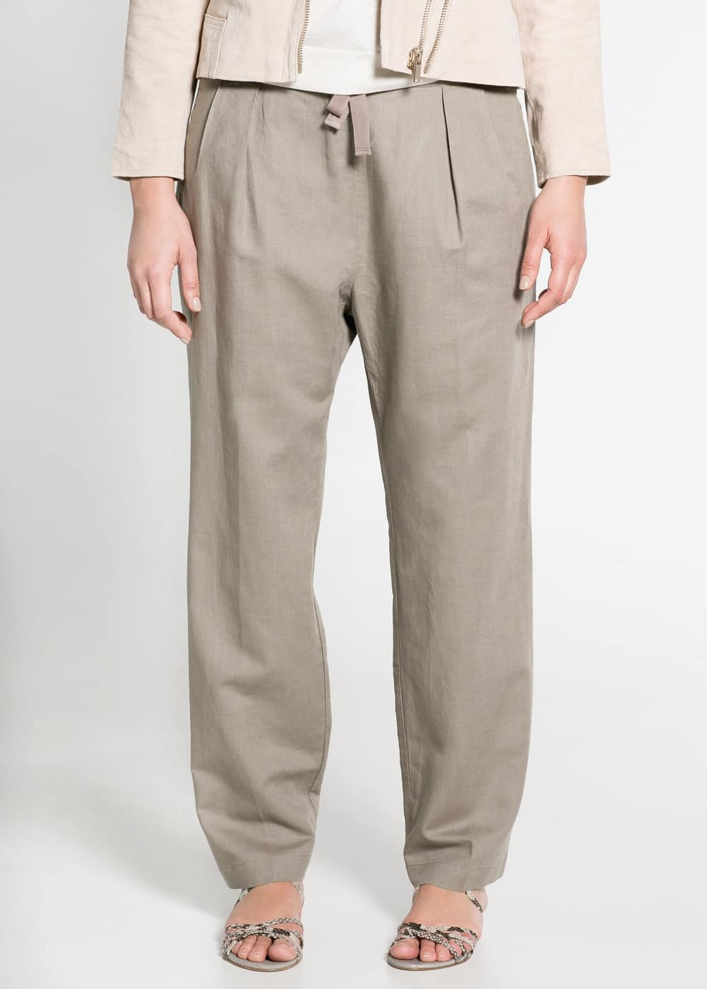 Cotton linen-blend trousers | MANGO