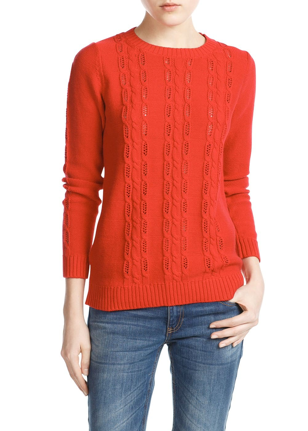 Openwork cable-knit sweater | MANGO