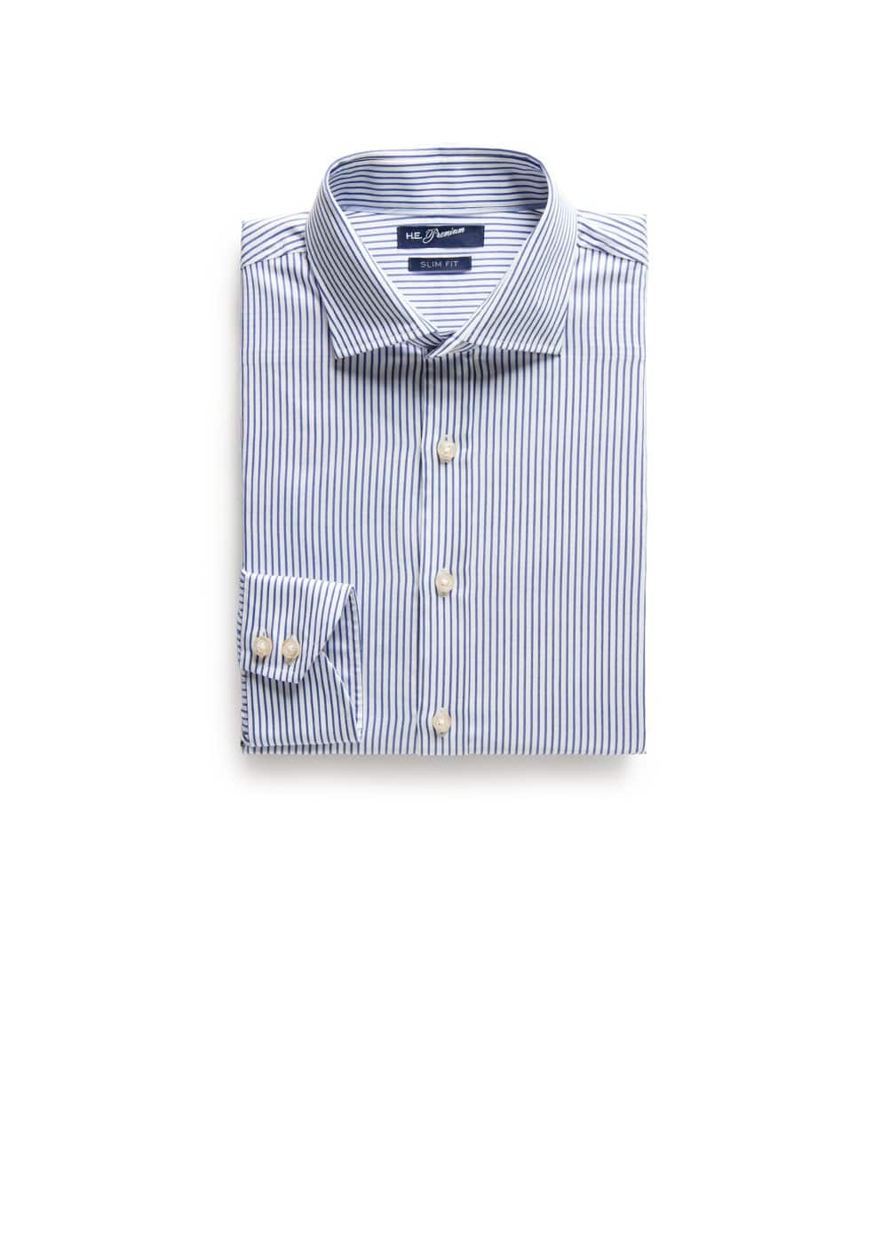 Slim-fit premium striped twill shirt | MANGO