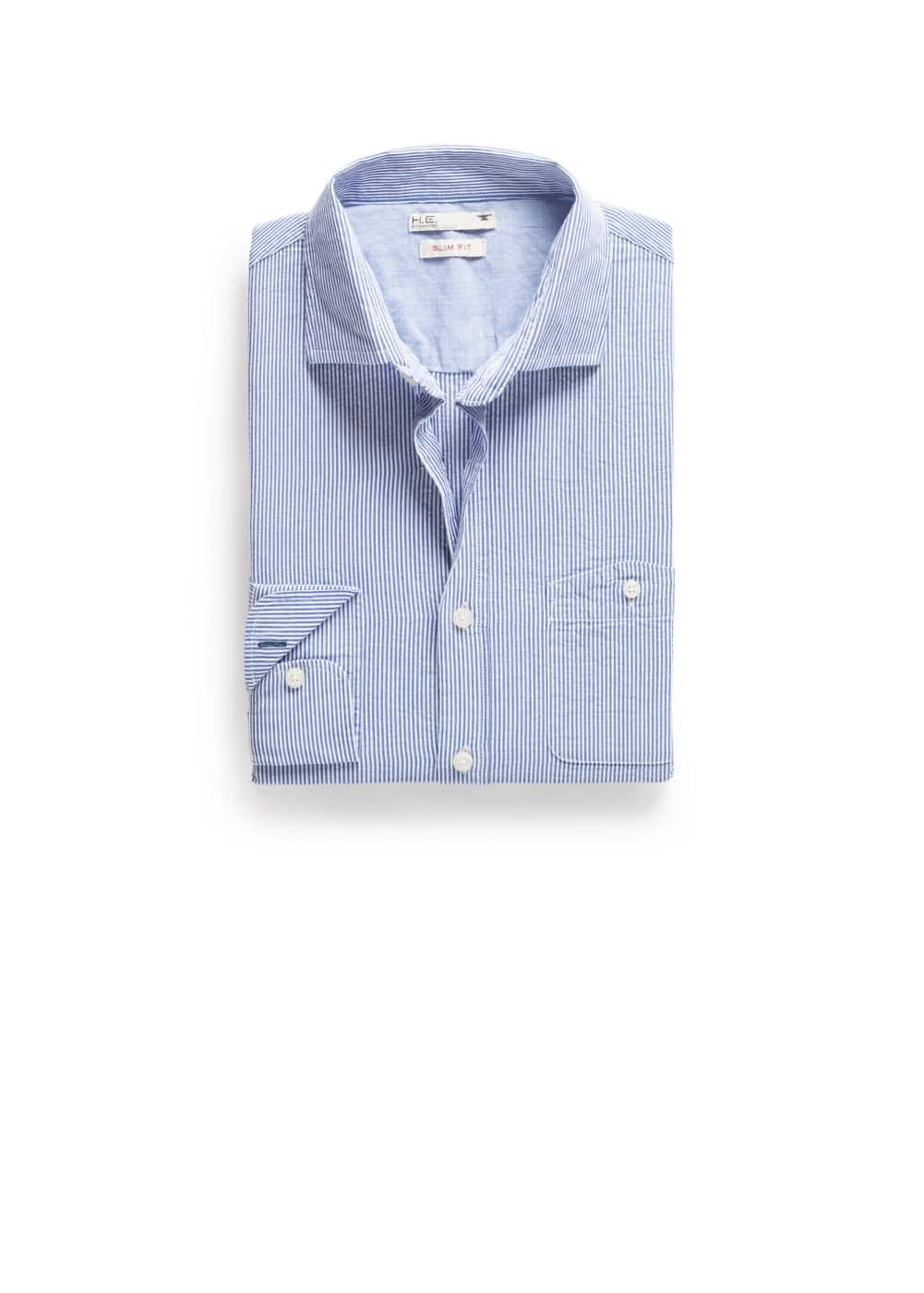 Slim-fit seersucker shirt