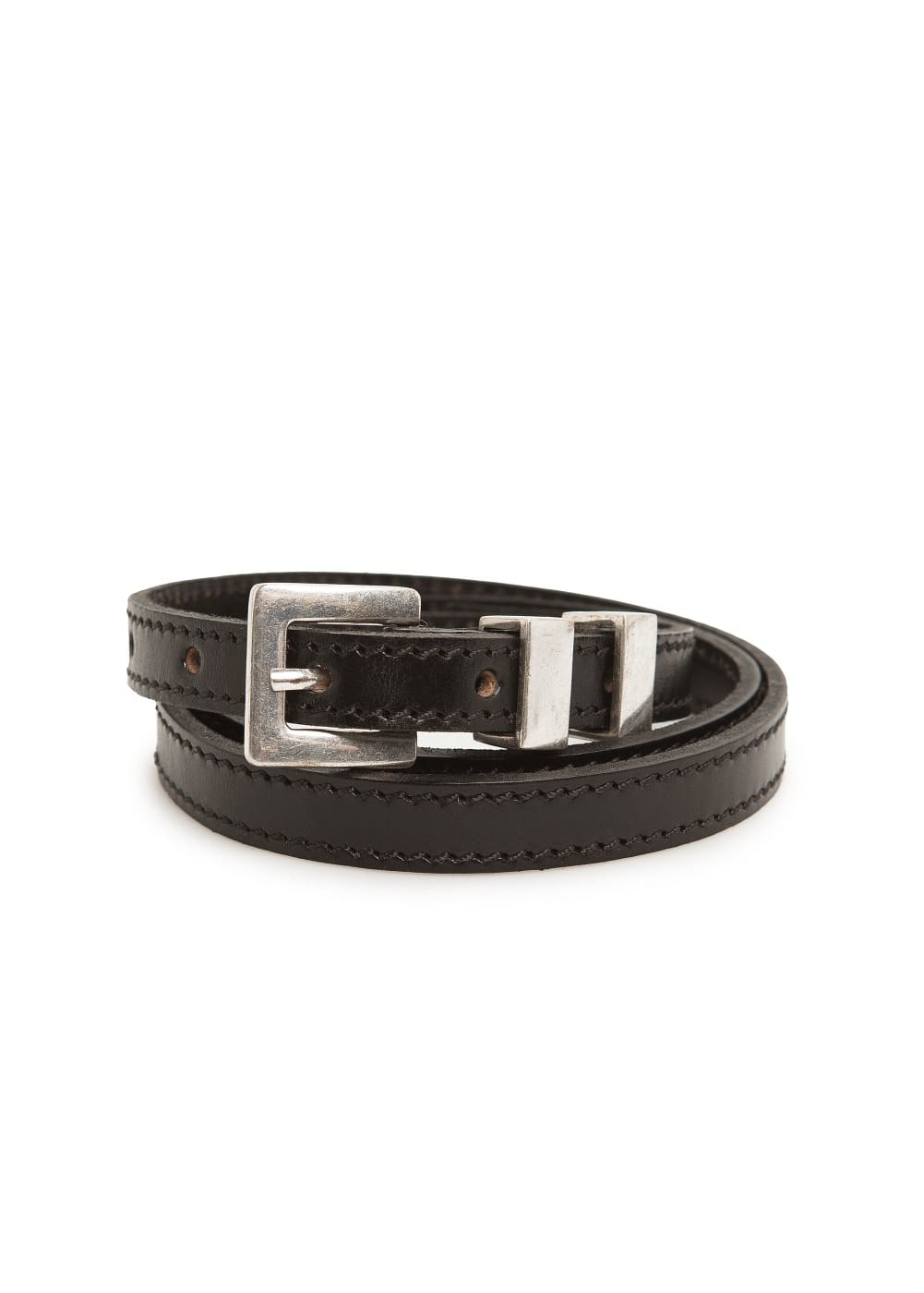Leather skinny belt