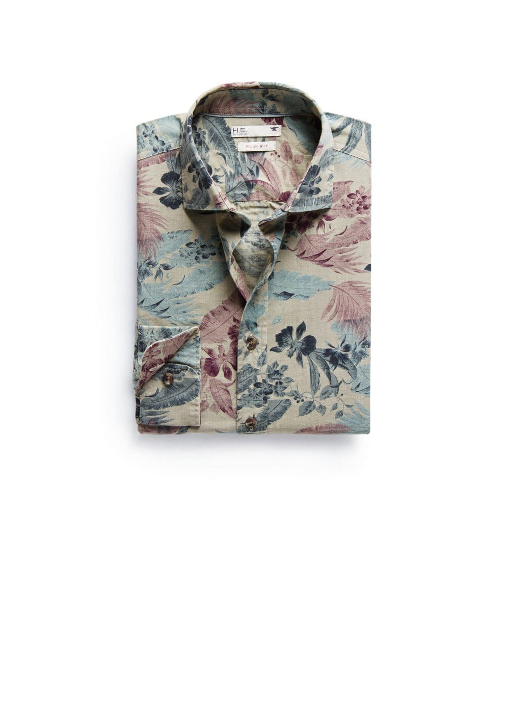 Camicia slim-fit stampa tropicale